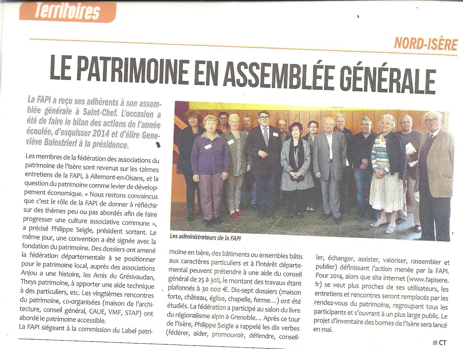 Article de l'Essor du 25 avril 2014